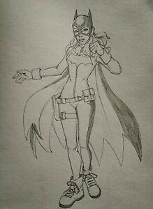 ORIGINAL Batgirl Pencil Sketch
