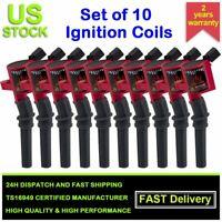10 Pack For Ford Ignition Coils HIGH PERFORMANCE Blaster Epoxy DG508 V8 V10 Red
