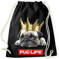 Turnbeutel Pug Life Mops mit Krone Hipster Beutel Tasche Sportbeutel Gymsac