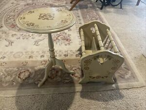 Ethan Allen Stenciled Wood Round Accent Table Hitchcock Magazine Rack Cream Gold