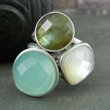 FD Thailand Sterling Silver Blue, Moss Green and White Stone Ring