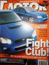 Motor Mag 2003 Ford XR6 Turbo Falcon WRX Mercedes E55 Porsche Cayenne Mazda RX-8