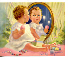 Adorable Baby w/ Powder Puff Makeup-Mabel Rollins Harris Signed Vintage Print