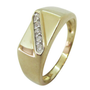 9ct Yellow Gold 0.10ct Diamond Solid Gents Signet Ring