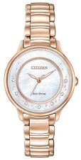 Citizen Ladies Stainless Steel Eco-drive Diamond Dress Watch Em0382-51d