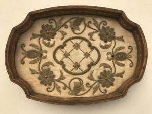 Early 18thC Lund Maker Gold Thread Raised Work Embroidery Panel / Tray Stumpwork