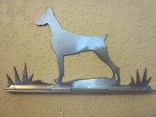 Doberman Mailbox Topper (no name) Steel Raw Metal Finish New Style