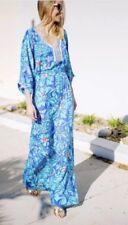 RARE!! LILLY PULITZER S WILDA MAXI CAFTAN DRESS IRIS BLUE MAI TAI BEAUTY XS