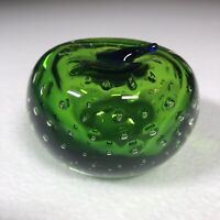 """Green Apple Art Studio Glass With Bubbles 3""""x 2"""" And 11 ounces Apple Themed Art"""
