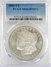 1882 CC CARSON CITY MORGAN SILVER DOLLAR COIN PCGS MINT STATE 63 DMPL