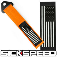 ORANGE AMERICAN FLAG HIGH STRENGTH RACING TOW STRAP FRONT REAR TOW HOOK