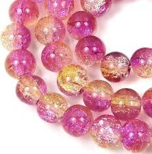 "8mm Czech Glass Crackle Cracked Round Beads - Purple /light Topaz (50) 16"""