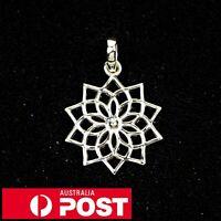 Solid 925 Sterling Silver Lotus Mandala Flower Pendant Yoga Peace Zen Meditation