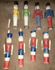 Vintage Wooden Soldiers With Movable Arms And Metal Wire Guns Lot of 8