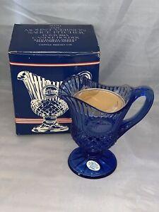 Vintage NIB Avon Mount Vernon Blue Sauce Pitcher, FOSTORIA, Candle, 1977, Sealed
