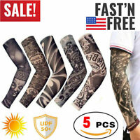 5 pcs Tattoos Cooling Arm Sleeves Cover UV Sun Protection Basketball Golf Sport