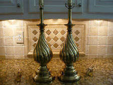 Beautiful Pair of Vintage Signed Rembrandt Brass Balluster Lamps