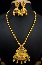 Latest Indian 18K CZ Pearl Peacock Matt Finish Temple Jewelry Necklace Gift Set