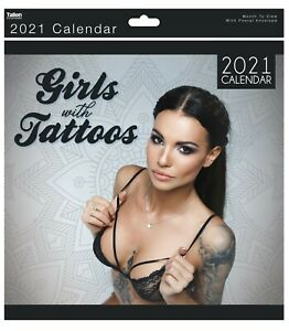 2021 Sexy Babes Girls with Tattoos Square Wall Calendar Ladies Glamour Model