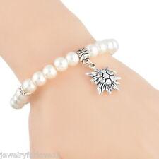 FL: Damen Weiß Armkette Armschmuck Perlen Strass Blumen Anhänger Modeschmuck