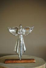 Skulptur Engel  Alu Holz Silber Deko Figur Weihnachten  Statue 32 cm NEW