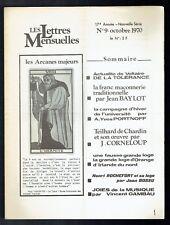 Les Lettres Mensuelles N°9 - 1970 - Franc Maçonnerie Traditionnelle
