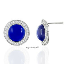 Elegant Sterling Silver Synthetic Sapphire Accent Pendant Earrings Set #65514