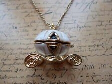 Cindarella Pumpkin Carriage Gold White Enamel 3D Costume Jewellery Necklace