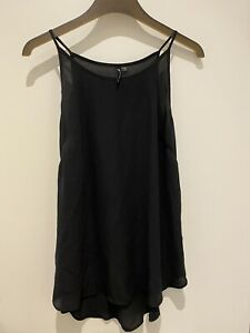 Cotton On Womens Sleeveless Blk Longline Sheer Top Lrg Excellent Condition