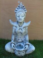 statue d un bouddha assis shiva en pierre patinée , étang , nouveau !