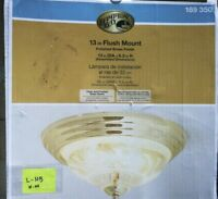 13 in. 2-Light Polished Brass Flush Mount with Frosted Glass Shade Brass Finish