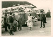 Allemagne 1960, autocars Mercedes  Vintage silver print. Germany Tirage argent
