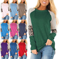 US Womens Leopard Raglan Patchwork Long Sleeve Loose T-Shirts Tops Casual Blouse