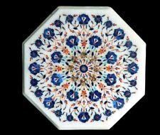 "15"" Pietra dura Taj Mahal Inlay Work White Marble Coffee Table Top"