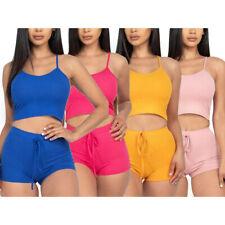 Para Mujer Sujetador Deportivo Crop Top y Pantalones cortos de la Alta Cintura Fitness Gym Entrenamiento Yoga Set