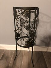 Htf Partylite Seville Grapeleaf Wrought Iron Floor Candle Stand Discontinued