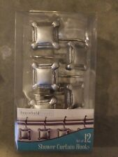 Household Trends Attractive Shower Curtain Hooks-Modern Silver-12 Count-Ez Slide