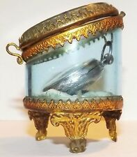 ANTIQUE VICTORIAN FRENCH SILVER LADY'S POCKET WATCH & FRENCH GLASS CASE