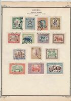 liberia overprints  stamps on album page ref r11842