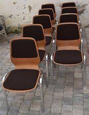 9 Stühle Plywood Buche gepolstert, Stapelstuhl deutsch mid century vintage 80s