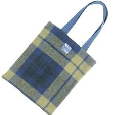 Faribault Woolen Mill Co Plaid Wool Tote Bag Green Navy Plaid Double Handle