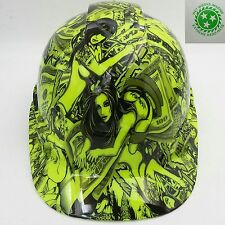 Hard Hat custom hydro dipped , OSHA approved HUSTLER GIRLS LIME GREEN