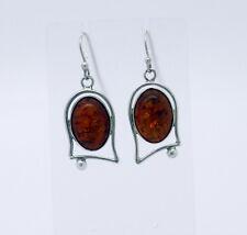 Honey Genuine BALTIC AMBER Sterling Silver Cabochons Dangle Earrings NIB # AE12