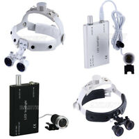 3.5X Headband Dental Surgical Medical Binocular Loupes LED Headlight 2 Color