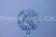 French antique school rubber stamp peacock 6,5*6 cm tampon paon AA116