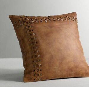 New Genuine Soft Real 100% Lambskin Leather Pillow Cushion Cover Handmade Tan