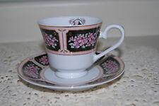 Avon Mrs Albee 2004 Honor Society Tea Cup Saucer Set white black pink