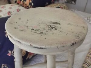 Antique white painted cottage barn wooden stool