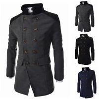 Mens Pea Coat Winter Warm Wool Blend Double Breasted Dress Jacket Outwear Tops.