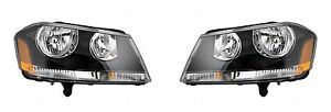 FOR DODGE AVENGER 2008 - 2014 HEADLIGHTS (BLACK) RIGHT & LEFT PAIR